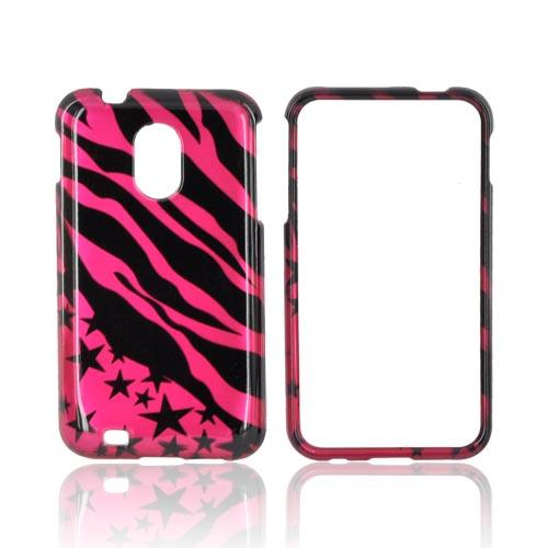 Samsung Epic 4G Touch Hard Case - Black Zebra & Stars on Hot Pink