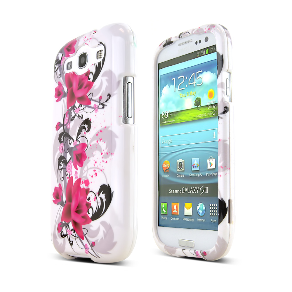 Samsung Galaxy S3 Hard Case - Magenta Flowers & Black Vines on White