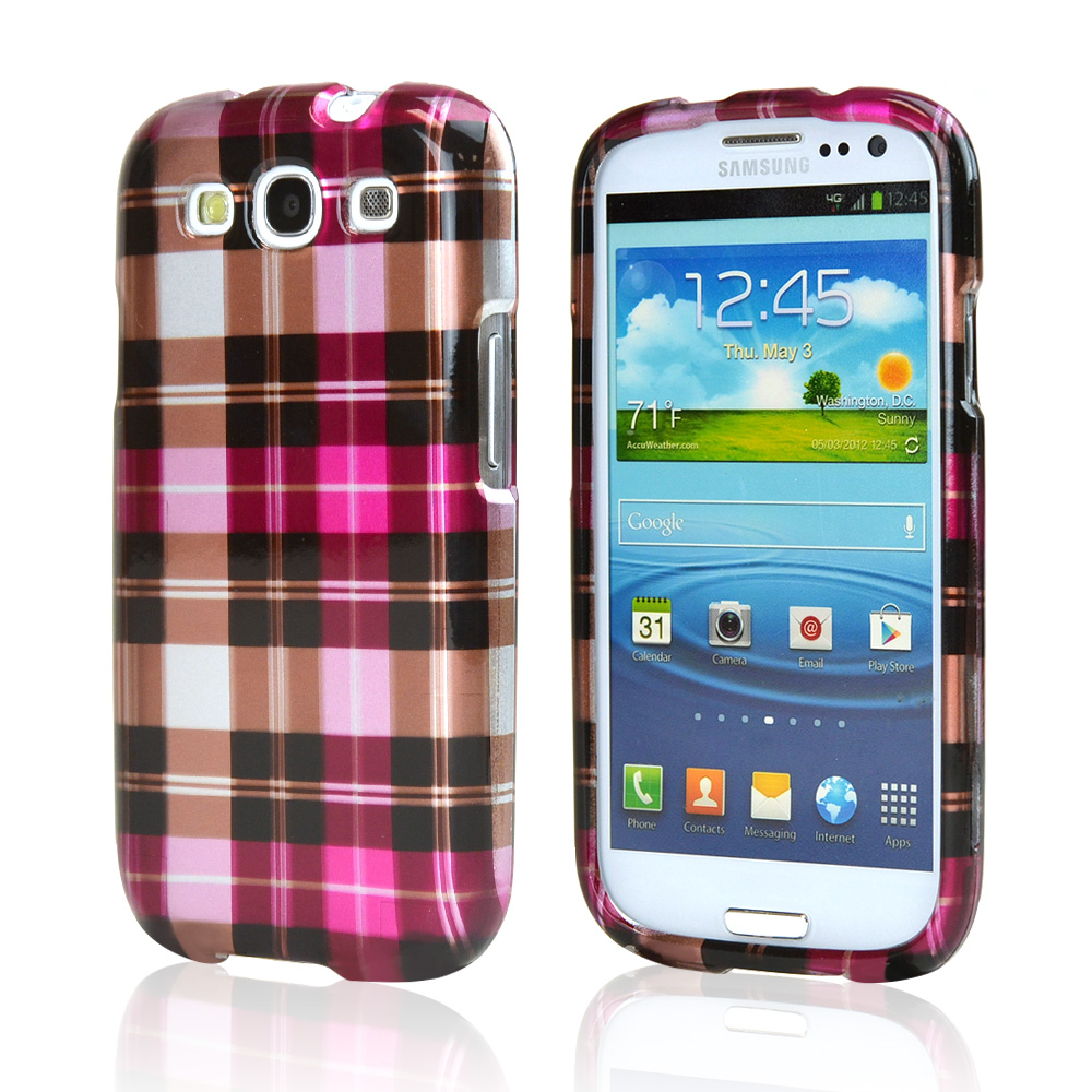 Samsung Galaxy S3 Hard Case - Plaid Pattern of Pink/ Hot Pink/ Brown/ Gray