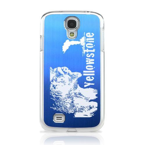 Yellowstone - Geeks Designer Line Laser Series Blue Aluminum on Clear Case for Samsung Galaxy S4