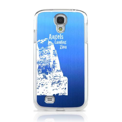 Angels Landing Zion Canyon - Geeks Designer Line Laser Series Blue Aluminum on Clear Case for Samsung Galaxy S4