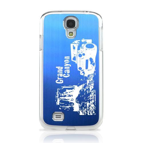 Grand Canyon - Geeks Designer Line Laser Series Blue Aluminum on Clear Case for Samsung Galaxy S4