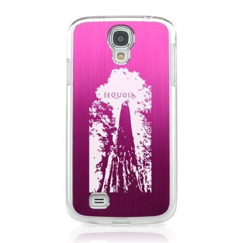 Sequoia Tree - Geeks Designer Line Laser Series Hot Pink Aluminum on Clear Case for Samsung Galaxy S4