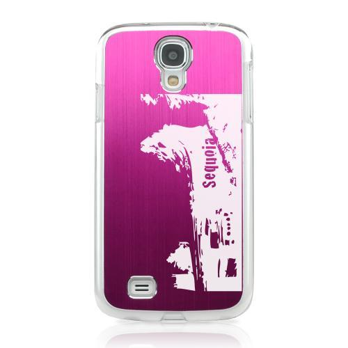 Sequoia Fallen Tree Tunnel - Geeks Designer Line Laser Series Hot Pink Aluminum on Clear Case for Samsung Galaxy S4