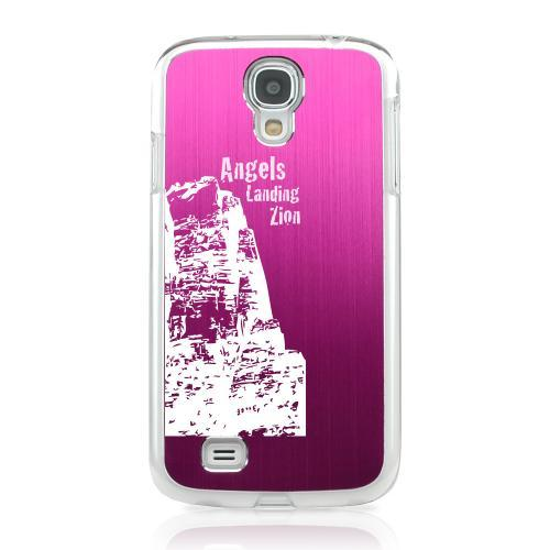 Angels Landing Zion Canyon - Geeks Designer Line Laser Series Hot Pink Aluminum on Clear Case for Samsung Galaxy S4