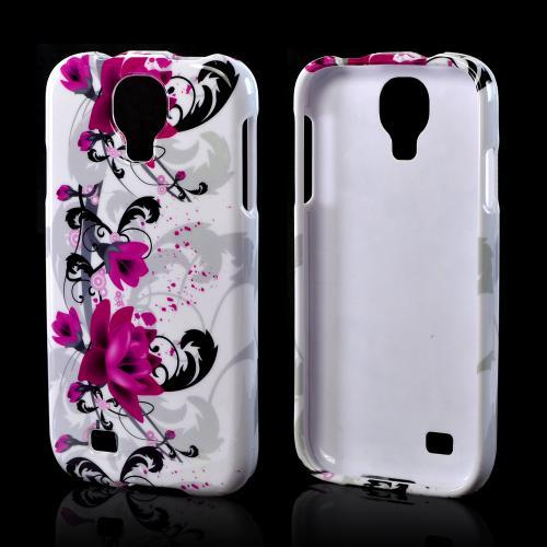 Magenta Flowers & Black Vines on White Hard Case for Samsung Galaxy S4
