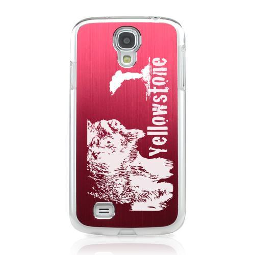 Yellowstone - Geeks Designer Line Laser Series Red Aluminum on Clear Case for Samsung Galaxy S4