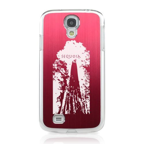 Sequoia Tree - Geeks Designer Line Laser Series Red Aluminum on Clear Case for Samsung Galaxy S4