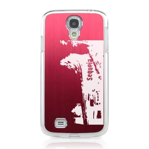 Sequoia Fallen Tree Tunnel - Geeks Designer Line Laser Series Red Aluminum on Clear Case for Samsung Galaxy S4
