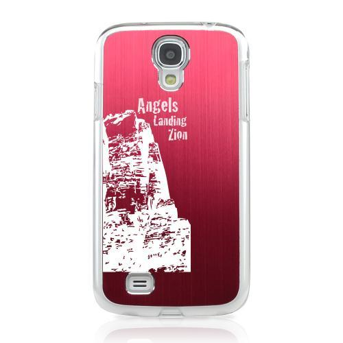 Angels Landing Zion Canyon - Geeks Designer Line Laser Series Red Aluminum on Clear Case for Samsung Galaxy S4