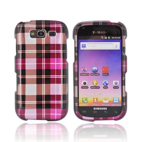 Samsung Galaxy S Blaze 4G Hard Case - Plaid Pattern of Pink, Hot Pink, Brown, Gray