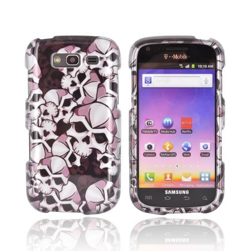 Samsung Galaxy S Blaze 4G Hard Case - Silver Skulls on Black