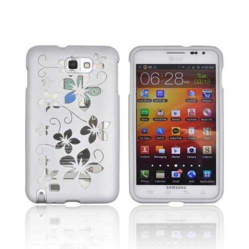 Samsung Galaxy Note Hard Case - Clear Hawaiian Flowers on Silver