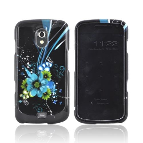 Samsung Galaxy Nexus Hard Case - Turquoise & Green Flowers on Black