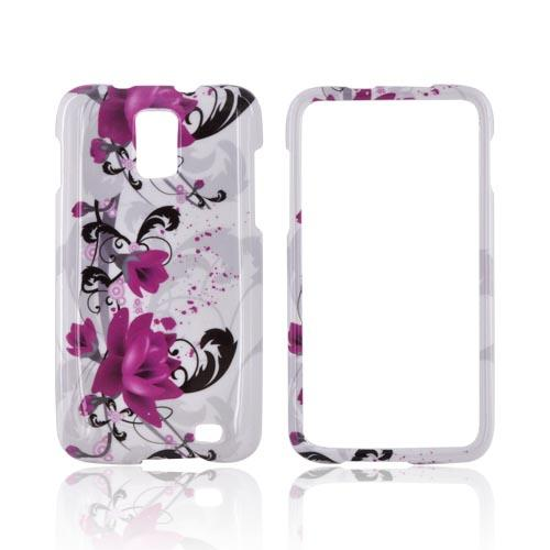 Samsung Galaxy S2 Skyrocket Hard Case - Pink Flowers on White