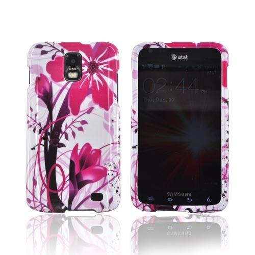 Samsung Galaxy S2 Skyrocket Hard Case - Pink Flower Splash on White