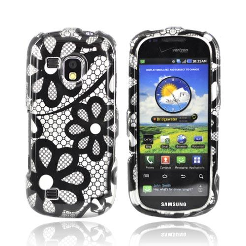 Samsung Continuum i400 Hard Case - Black Floral Lace on Silver