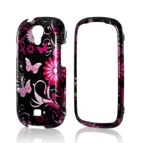 Pink Flowers and Butterflies on Black Hard Case for Samsung Stratosphere 2