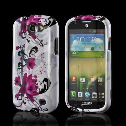 Magenta Flowers & Black Vines on White Hard Case for Samsung Galaxy Express