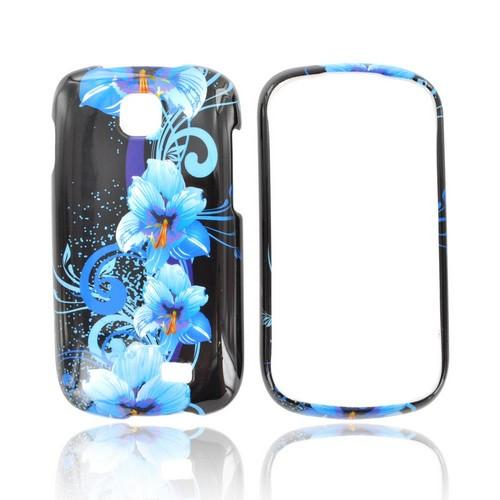 Samsung Galaxy Appeal Hard Case - Blue Flower on Black