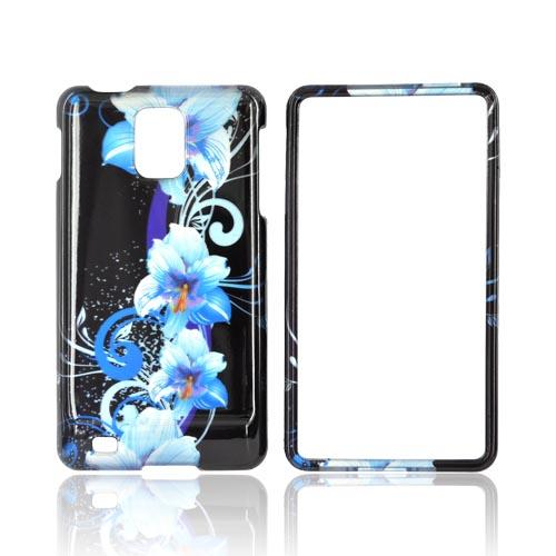 Samsung Infuse i997 Hard Case - Blue Flowers on Black