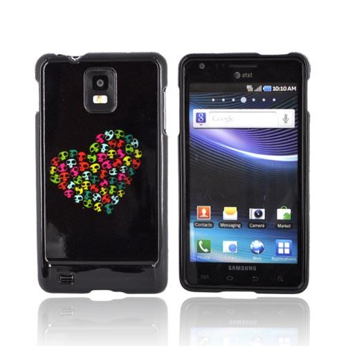 Samsung Infuse i997 Hard Case - Rainbow Skulls Heart on Black