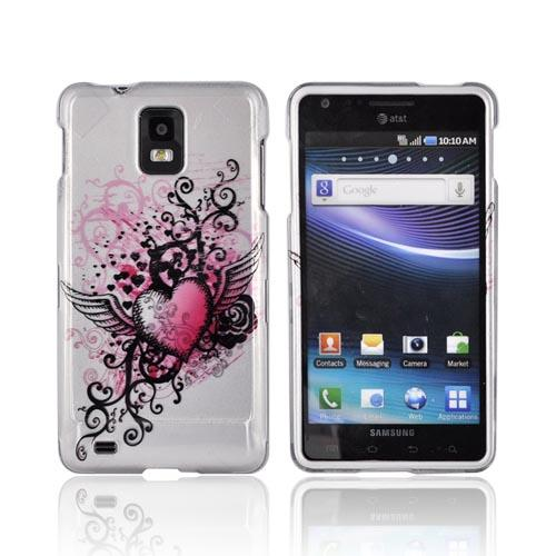 Samsung Infuse i997 Hard Case - Pink Heart w/ Wings on Silver