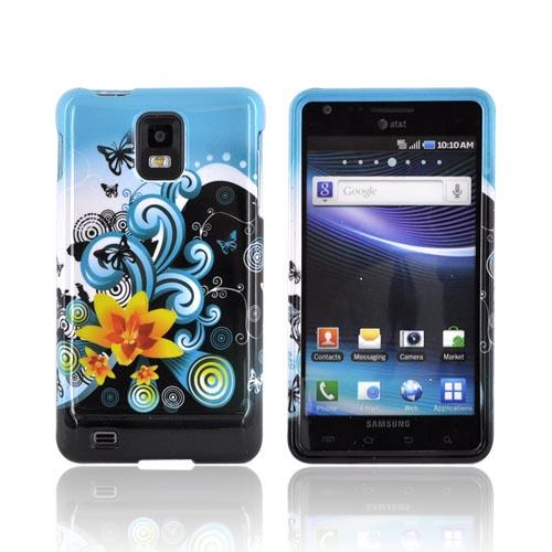 Samsung Infuse i997 Hard Case - Yellow Lilly & Swirls on Turquoise/Black