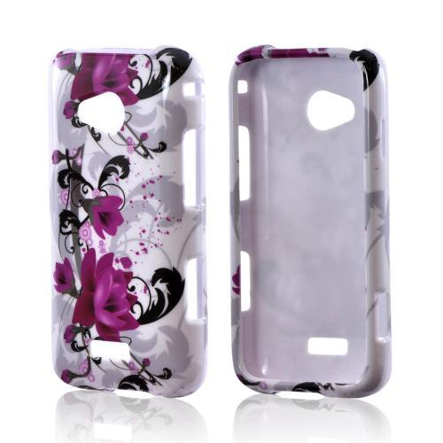 Samsung Galaxy Victory 4G LTE Hard Case - Magenta Flowers & Black Vines on White