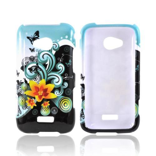 Samsung Galaxy Victory 4G LTE Hard Case - Yellow Lily w/ Swirls on Turquoise/ Black