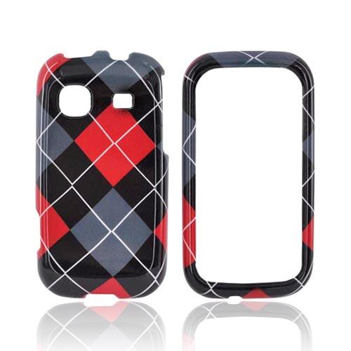 Samsung Trender M380 Hard Case - Red/ Gray/ Black Argyle