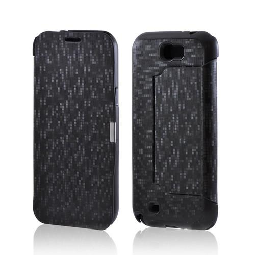 Premium Samsung Galaxy Note 2 Diary Flip Cover Hard Case w/ Stand - Black Matrix Design