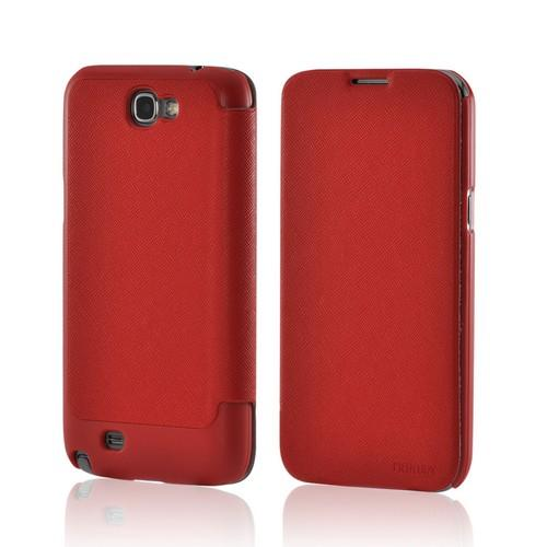 Red Diary Flip Cover Premium Hard Case w/ ID Slots for Samsung Galaxy Note 2