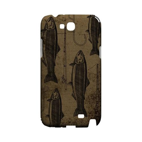 Vintage Salmon/Hook/Pole Print - Geeks Designer Line (GDL) Fish Series Hard Back Cover for Samsung Galaxy Note 2