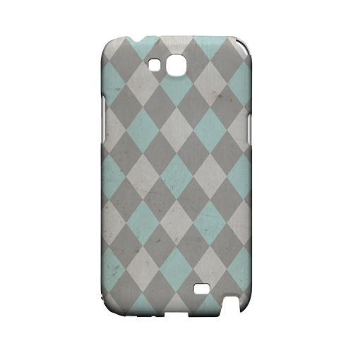 Grunge Pink/ Blue/ Gray Argyle - Geeks Designer Line Checker Series Hard Case for Samsung Galaxy Note 2