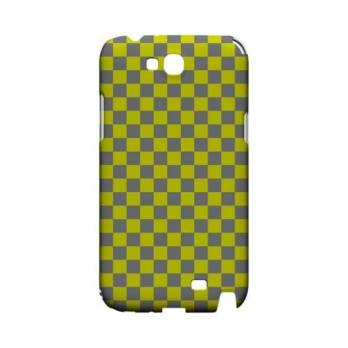 Yellow/ Gray - Geeks Designer Line Checker Series Hard Case for Samsung Galaxy Note 2