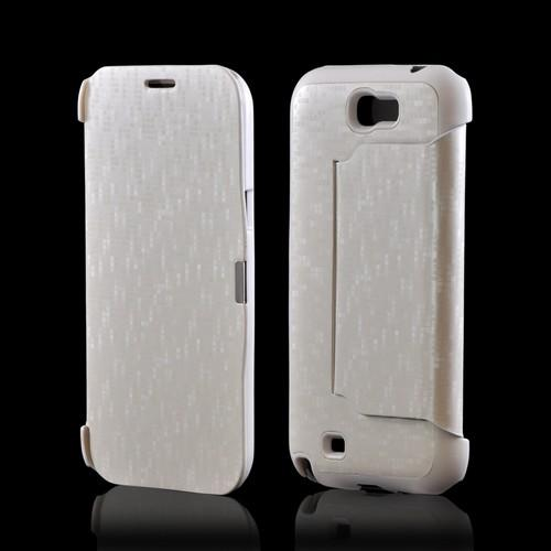 Premium Samsung Galaxy Note 2 Diary Flip Cover Hard Case w/ Stand - Pearl/ White Matrix Design