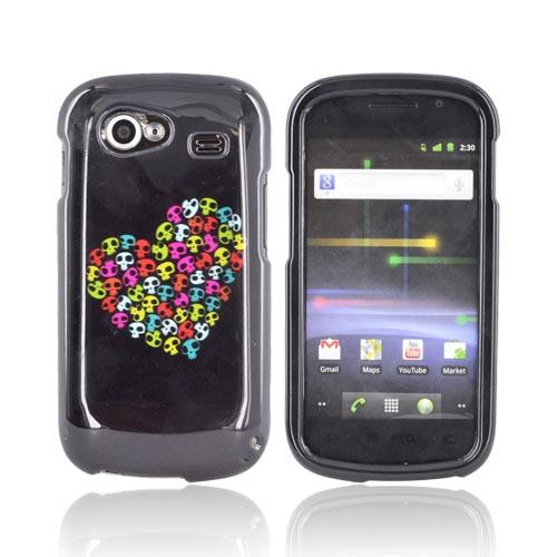 Google Nexus S Hard Case - Rainbow Skulls Heart on Black
