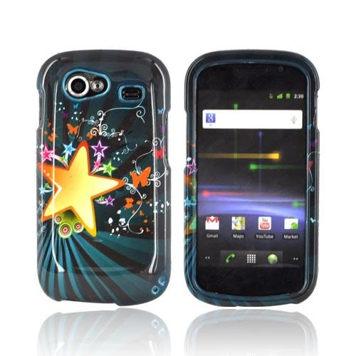 Google Nexus S Hard Case - Star Blast & Butterflies on Teal/ Black