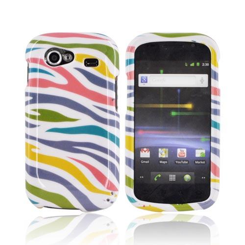 Google Nexus S Hard Case - Rainbow Zebra on White