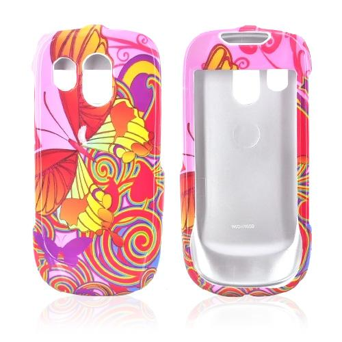 Samsung R860 Hard Case - Colorful Butterfly Design on Pink