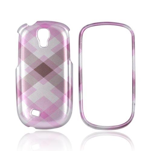 Samsung Gravity Smart Hard Case - Plaid Pattern of Baby Pink & Brown on Silver