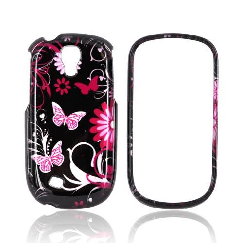 Samsung Gravity Smart Hard Case - Pink Flowers & Butterflies on Black