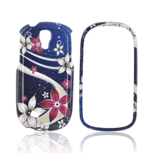Samsung Gravity Smart Hard Case - Pink/ White Flowers on Blue
