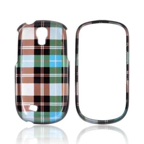 Samsung Gravity Smart Hard Case - Plaid Pattern of Blue/ Brown/ Silver