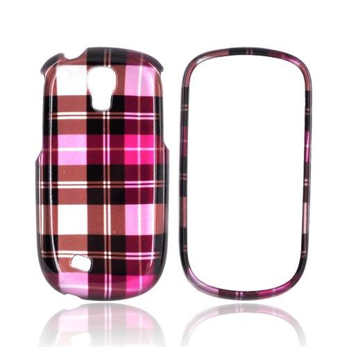 Samsung Gravity Smart Hard Case - Plaid Pattern of Pink/ Hot Pink/ Brown/ Gray