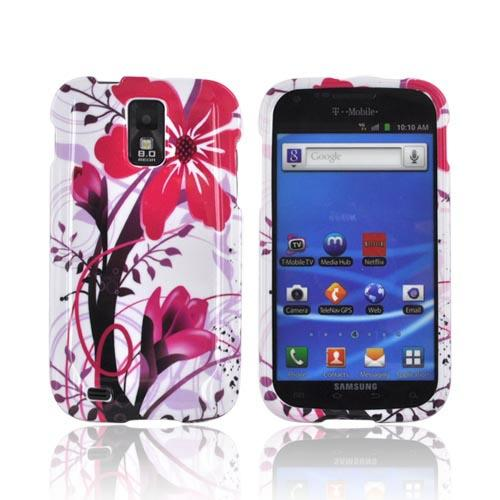 T-Mobile Samsung Galaxy S2 Hard Case - Pink Flower Splash on White