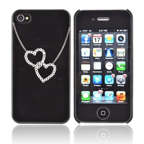 Premium AT&T/ Verizon Apple iPhone 4, iPhone 4S Hard Case w/ Bling - Black/ Silver Double Heart Necklace