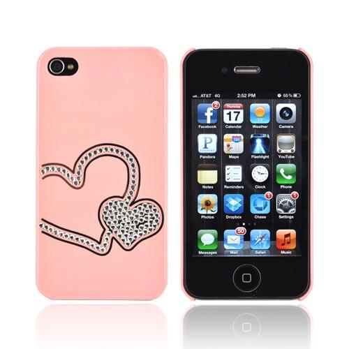 Premium AT&T/ Verizon Apple iPhone 4, iPhone 4S Hard Case w/ Bling - Pink/ Silver Double Heart