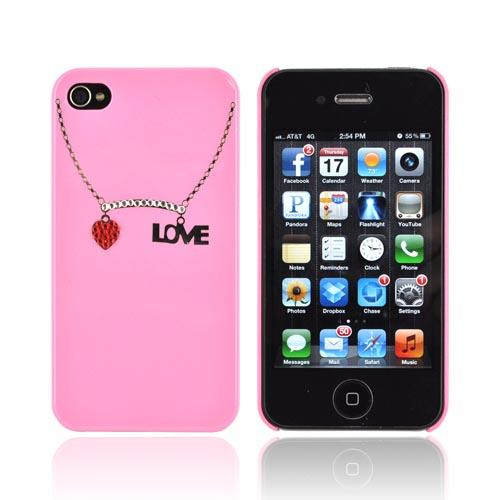 Premium AT&T/ Verizon Apple iPhone 4, iPhone 4S Hard Case w/ Bling - Pink/ Silver/ Red Love Necklace